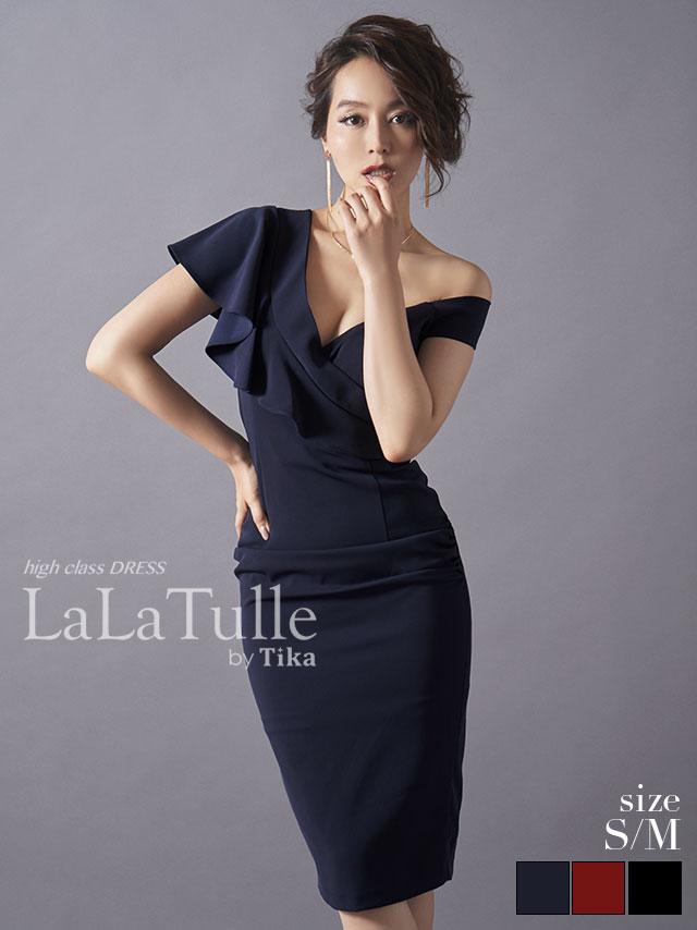レキシー アシンメトリーフリルショルダータイトミディアムドレス (レッド/ネイビー/ブラック) (Sサイズ/Mサイズ)