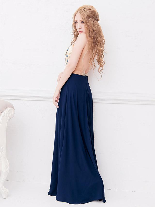 LaLatulle ララチュール ビジューデザインカラーロングドレス ピンク 高級ドレス ナイトドレス 二次会 お呼ばれ