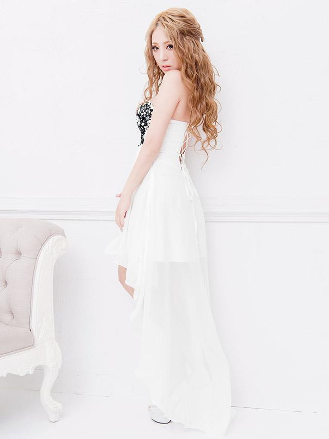 d3c281d243c96 LaLatulle ララチュール レースデザインカラーフィッシュテールロングドレス ホワイト 高級ドレス ナイトドレス 二次会