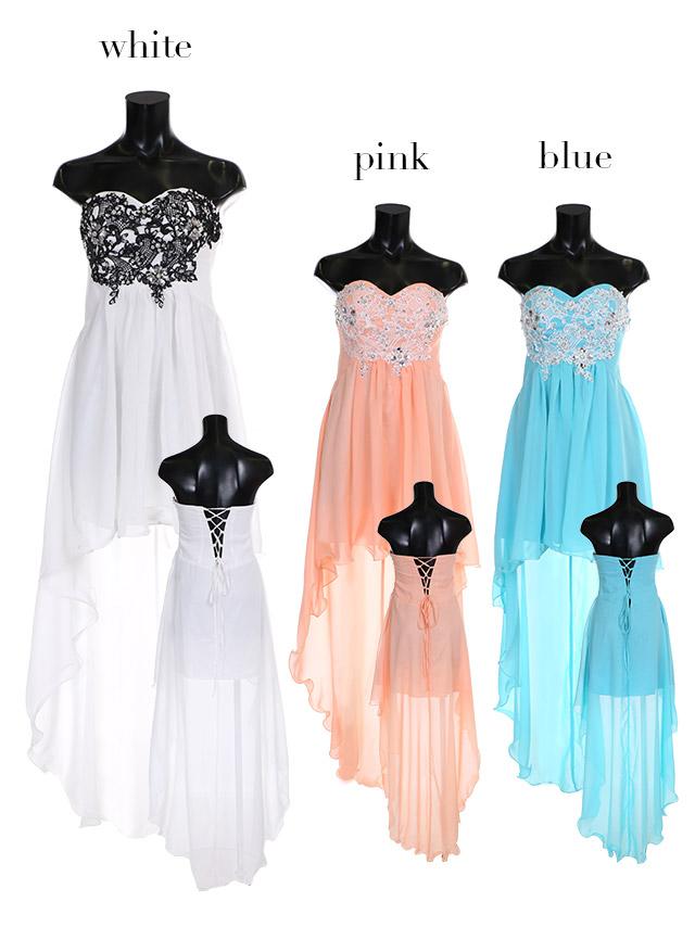 LaLatulle ララチュール レースデザインカラーフィッシュテールロングドレス ホワイト 高級ドレス ナイトドレス 二次会 お呼ばれ