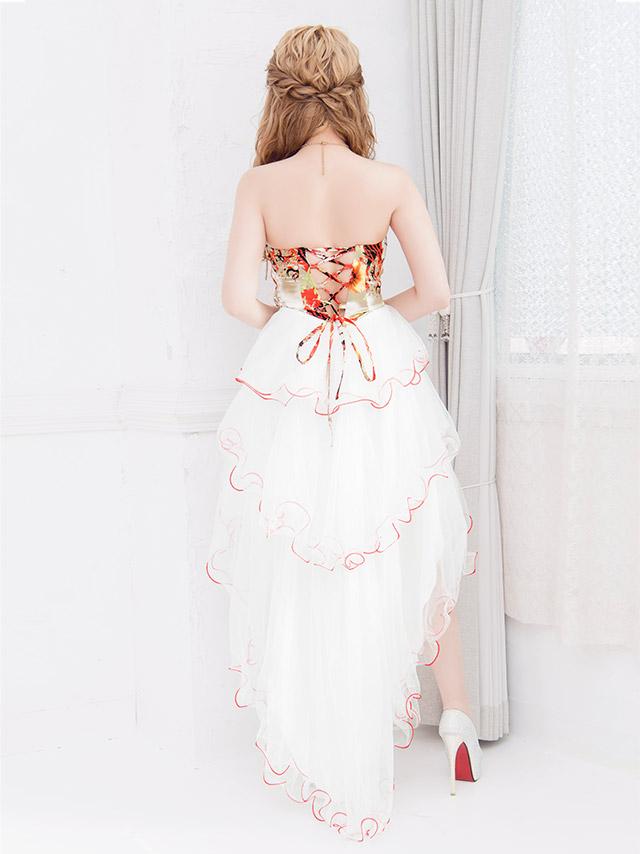 LaLatulle ララチュール ぼかしフラワーペイントフリルフィッシュテールロングドレス ホワイト 高級ドレス ナイトドレス 二次会 お呼ばれ