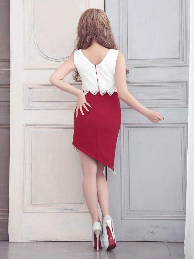 LaLatulle ララチュール ドレス glll-md168054t  オーバーラップタイトミニドレス (ブラック/ワインレッド) (S/M/L)