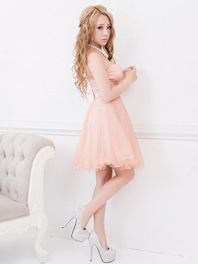LaLatulle ララチュール ビジューデザインフリルチュールミニドレス ピンク 高級ドレス ナイトドレス 二次会 お呼ばれ