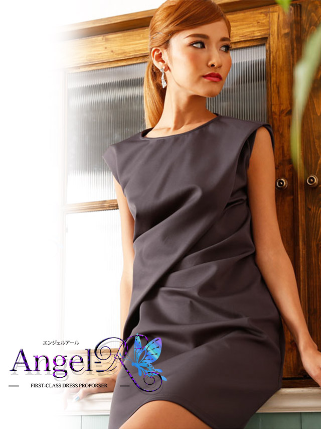 エンジェルアール Angel-R ドレス ar6241ドレープ切替タイトミニドレス (グレー)