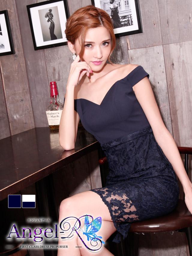 Angel-R angel-r エンジェルアール ar6330  レース刺繍ハイウエスト切り替えタイトミニドレス 2colors