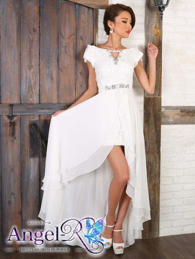 エンジェルアール Angel-R ドレス   ar7305刺繍調レースオフショルダーショートインロングドレス (ホワイト)