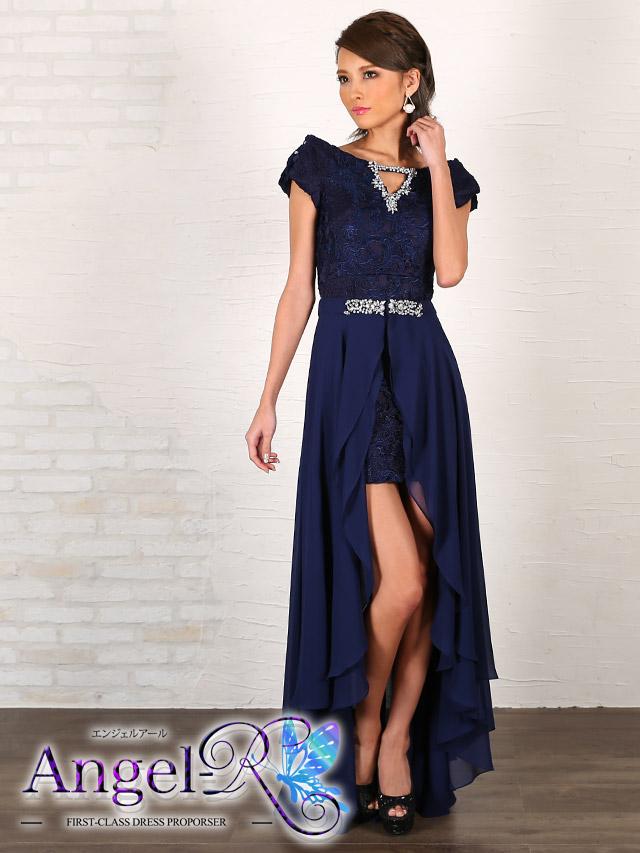 エンジェルアール Angel-R ドレス   ar7305刺繍調レースオフショルダーショートインロングドレス (ネイビー)