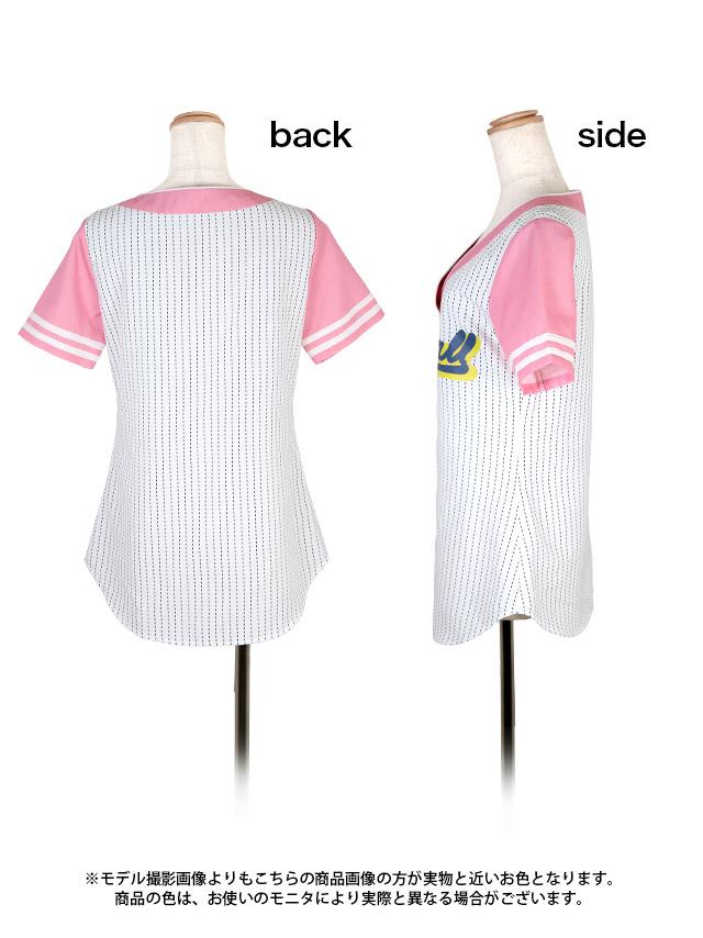 ピンクストライプベースボールユニフォームコスチュームセット