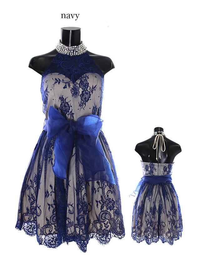 BEYOND IRMA ビヨンド イルマ ドレス 165702 背中魅せホルターネックウエストリボンフレアミニドレス (3color) (S/M)