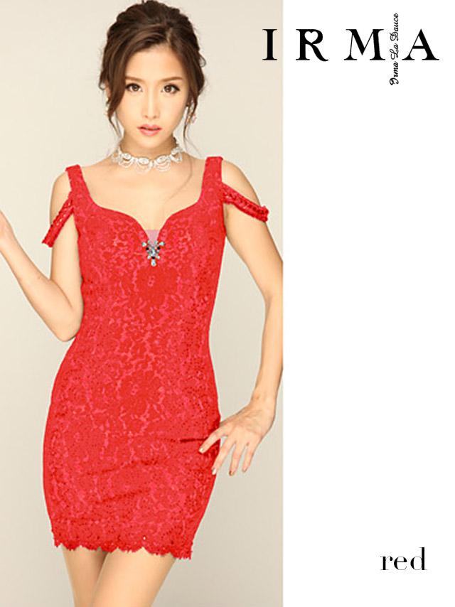 IRMA イルマ ドレス 165711 ラメ入レースオフショルタイトミニドレス (3color)(S/M)