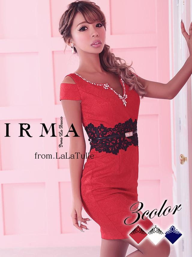 IRMA イルマ ドレス 165714 ベロア素材レースデザインタイトミニドレス (2color)(S/M)