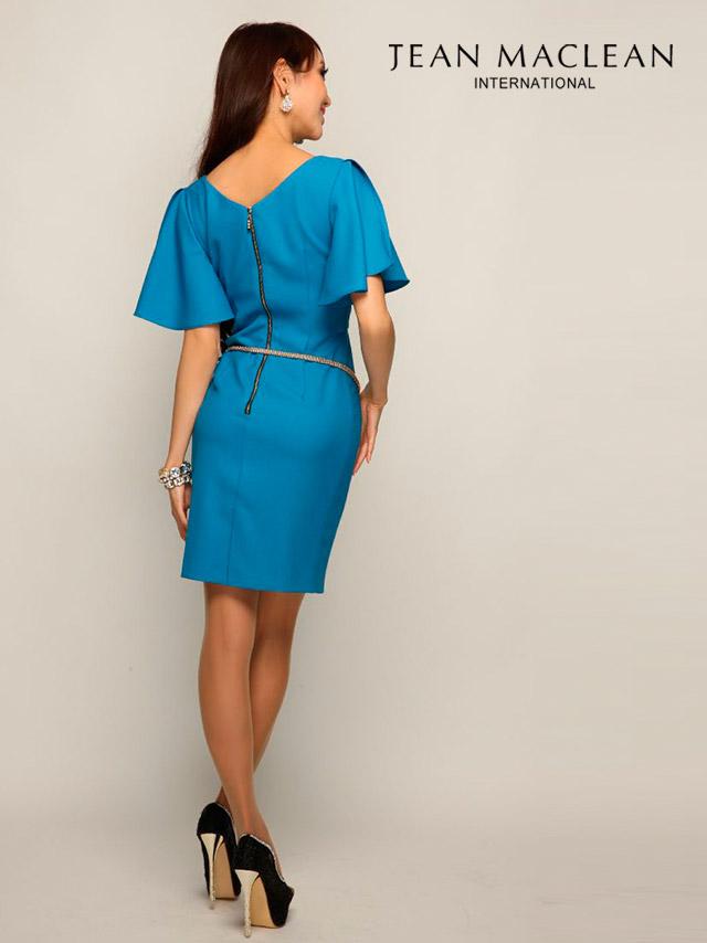 JEANMACLEAN ジャンマクレーン ドレス 165717 フリルショルダーシンプルタイトミニドレス (3color)