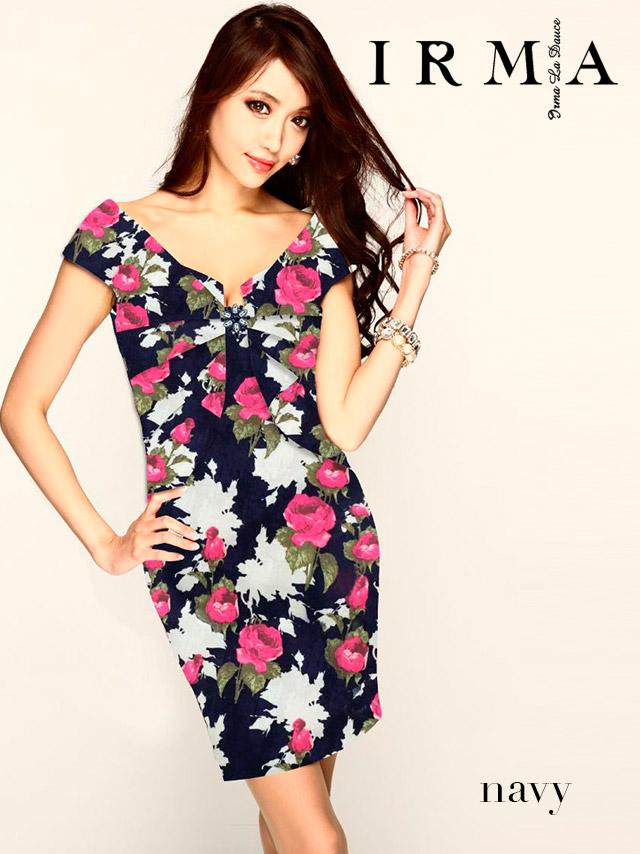 IRMA イルマ ドレス 165722 フラワープリントタイトミニドレス (2color)(S/M)