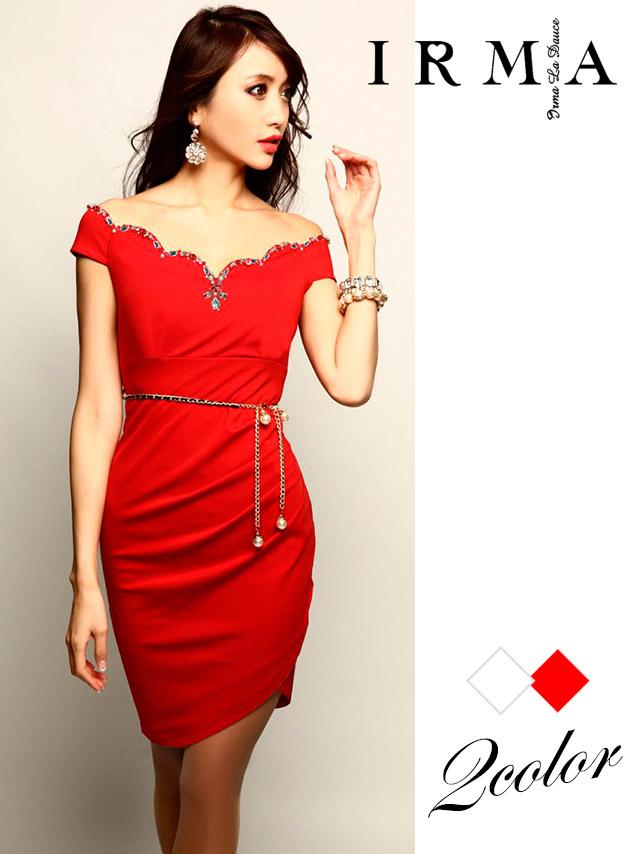 IRMA イルマ ドレス 165723 ビジュラインオフショルタイトミニドレス (2color)(S/M)