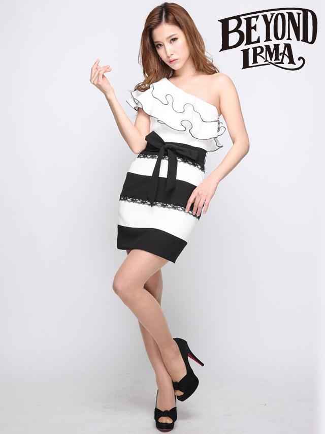 IRMA イルマ 75023 フリルワンショルダー×ボーダースカートタイトミニドレス