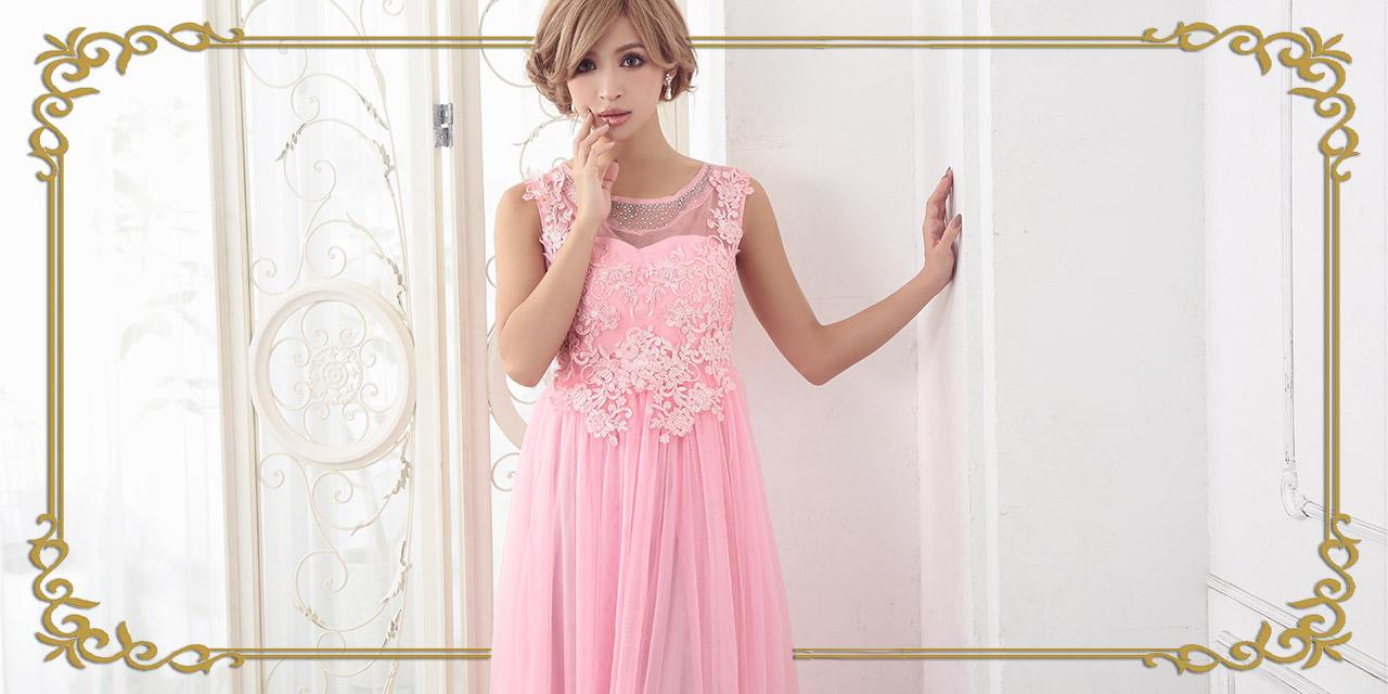 キャバ嬢さんのチュールロングドレス
