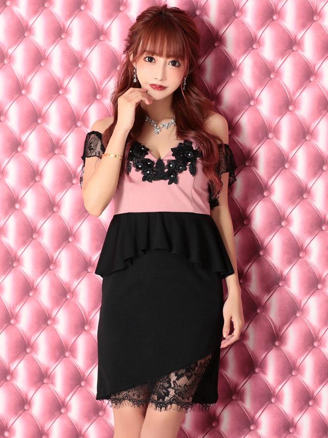 ハイネックリボンブラックフラワーレースペプラムドレス