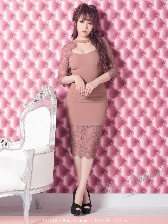 ハイネックフラワー刺繍レースタイトドレス