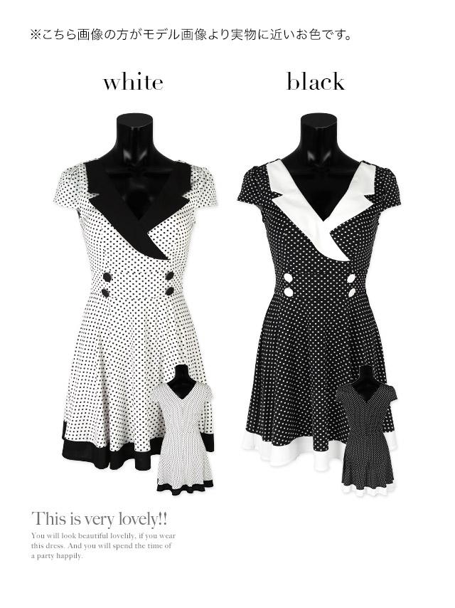 韓国ドレス 襟付きカシュクールドットレトロフレアミニドレス