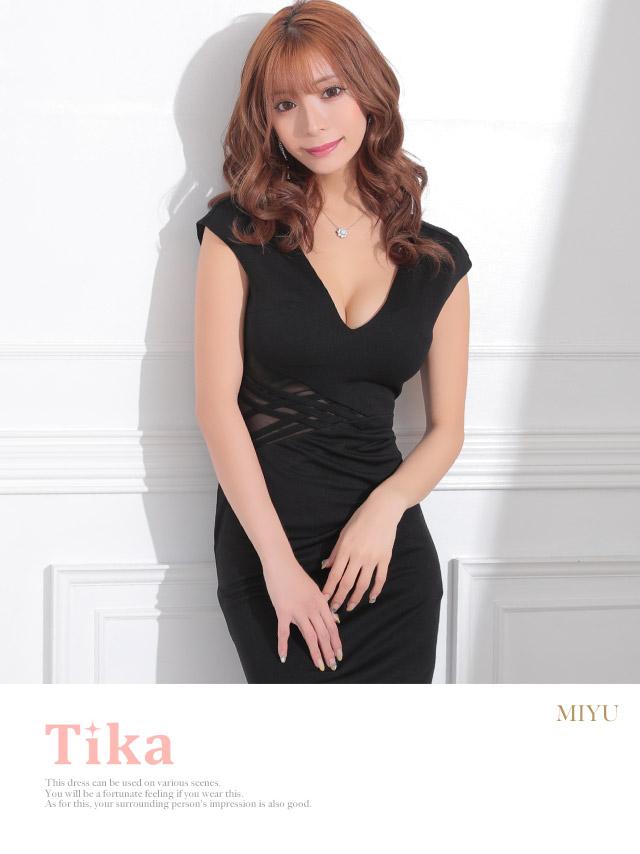 韓国ドレス ウエストシースルークロスデザインワンカラーアシメタイトドレス