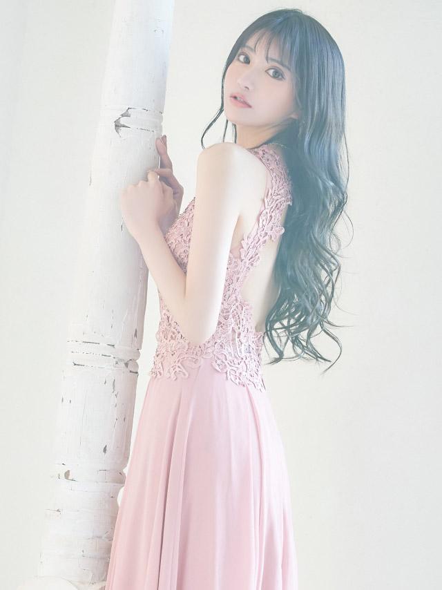 シースルーフラワー刺繍ビジューデザインAラインスリットロングドレス