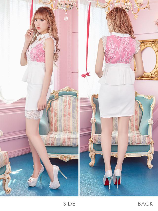 ネックリボンフラワー刺繍レースバイカラーペプラムタイトミニドレス