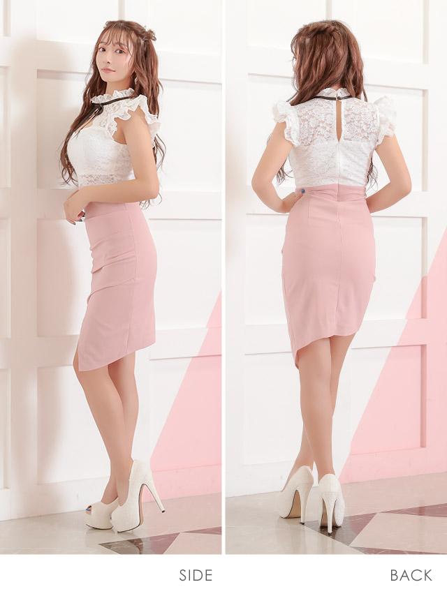 韓国ドレス フラワーレースハイネックフリルリボンアシメミニドレス