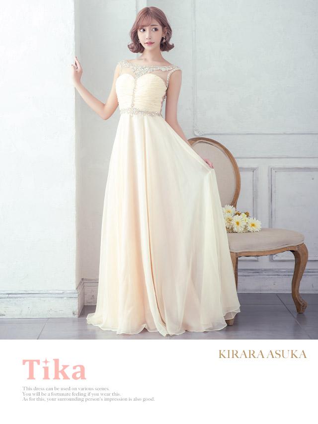 LAブランド直輸入 シースルー刺繍ビジュードレープシフォンロングドレス