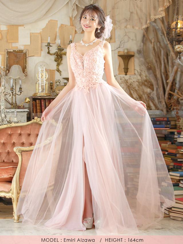 LAブランド直輸入 フラワー刺繍レースチュールロングスリットドレス