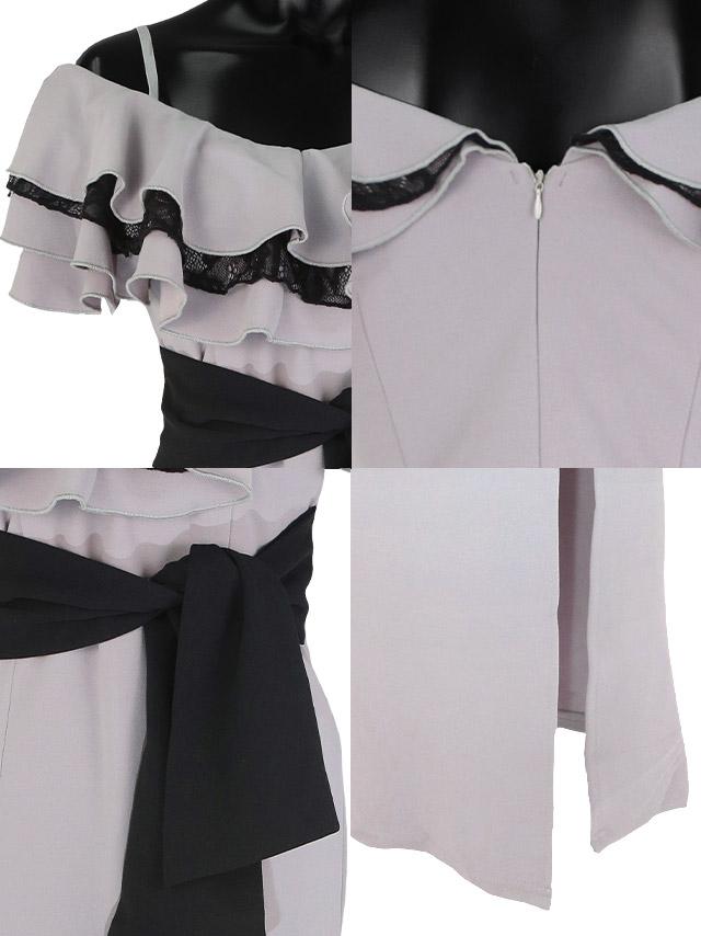 ティアードフリルタイトスリットロングドレスの商品詳細 ディテール