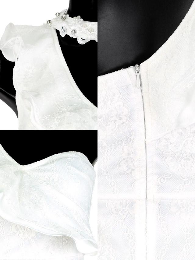 フラワー刺繍レースチョーカーフリルワンショルダータイトミニドレス