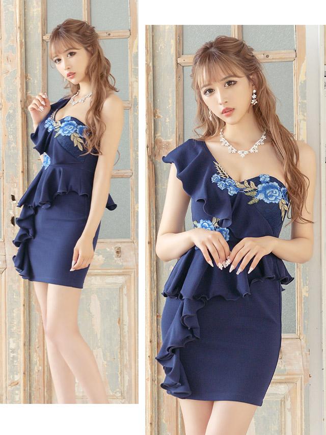 フリルワンショルダーペプラムフラワー刺繍タイトミニドレス