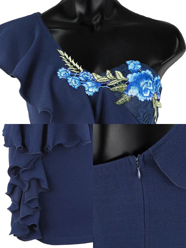 フリルワンショルダーペプラムフラワー刺繍タイトミニドレスの商品詳細