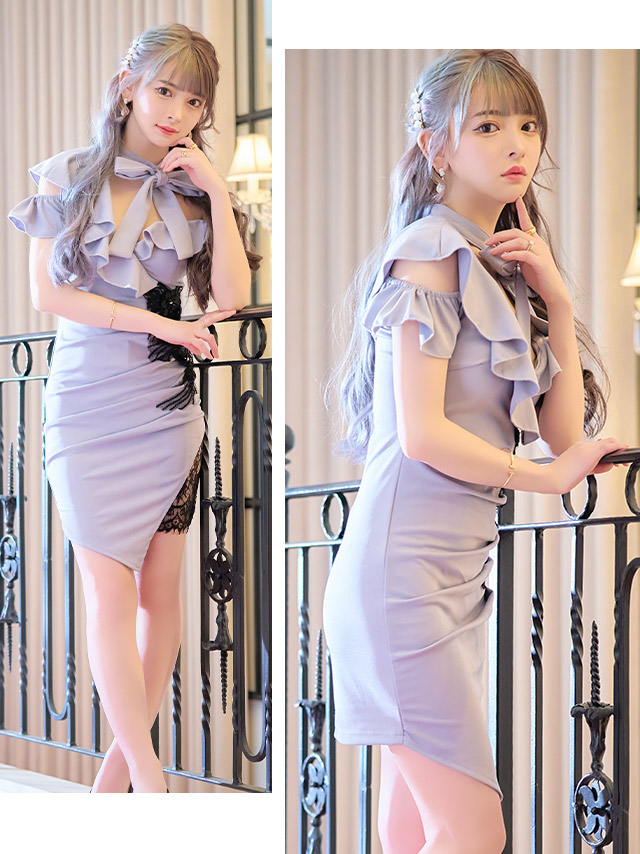 ネックリボンアシメフリルショルダーフラワー刺繍ビジューレースタイトミニドレス