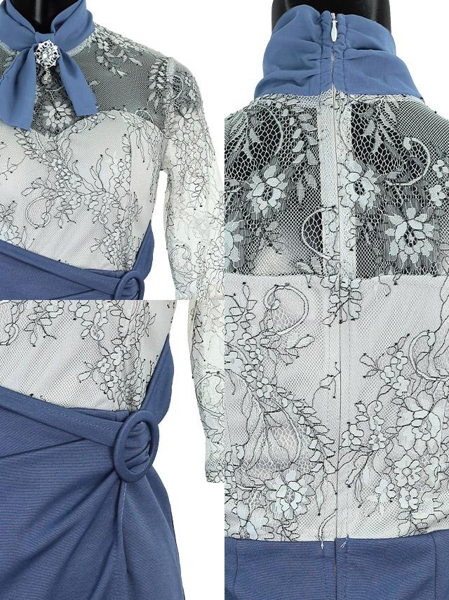 ハイネックシアーフラワーリングベルトブローチ付きラップミニドレスの商品詳細