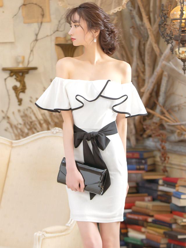 オフショルフリルパイピングデザインウエストリボンタイトミニドレス