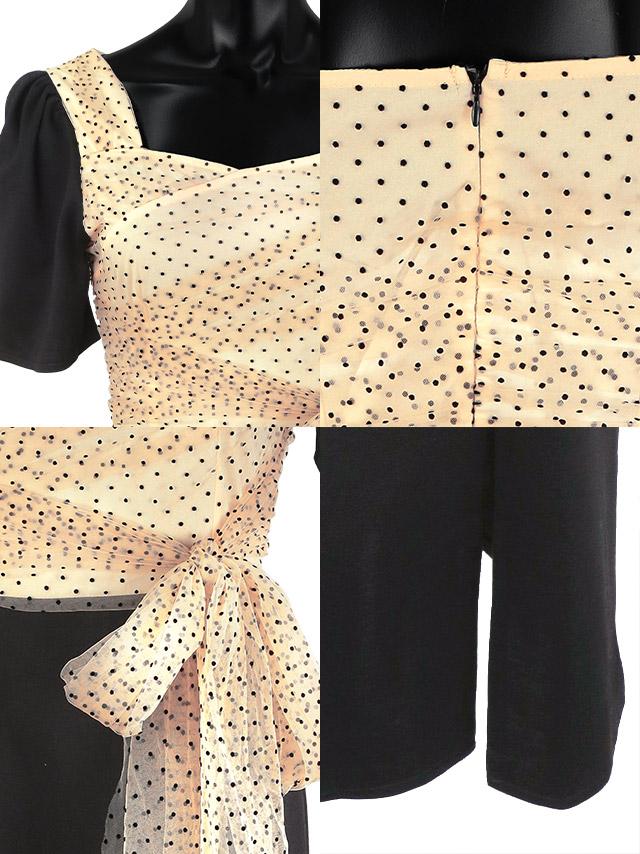 ドットシアーウエストリボン切り替えスリットミディアムドレスの商品詳細