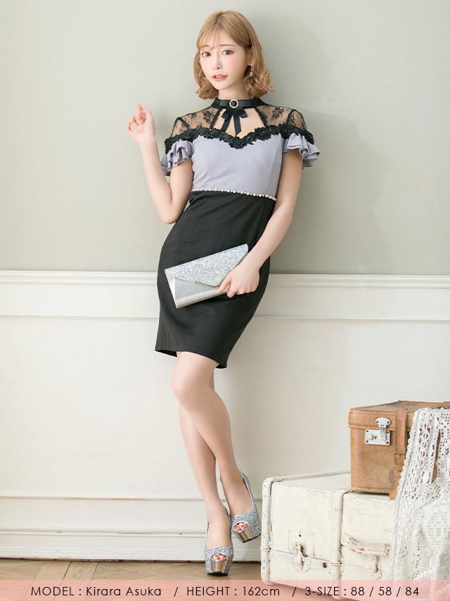 明日花キララが着る新作バイカラーキャバドレス