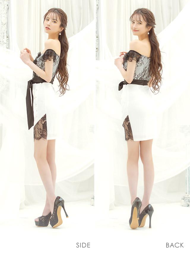 オフショルフラワー刺繍レースウエストリボンアシメタイトミニドレス