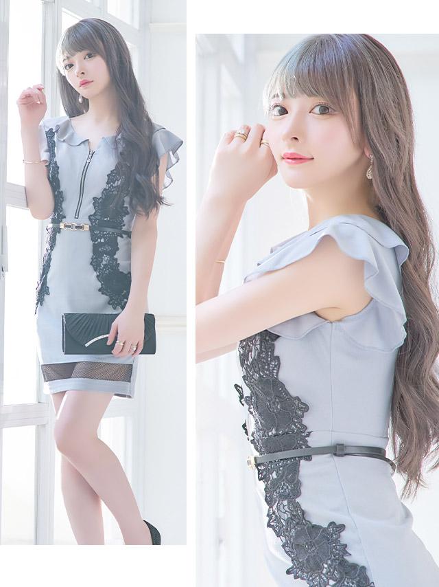 フロントファスナーデザインフラワー刺繍レースウエストベルト付きタイトミニドレス