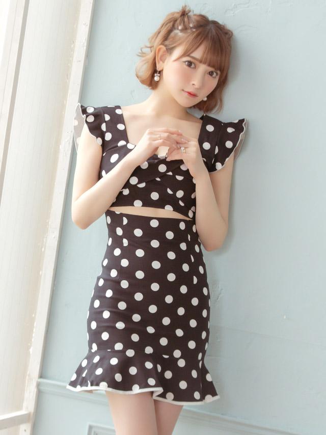 裾フリルウエストカットドット柄タイトミニドレス
