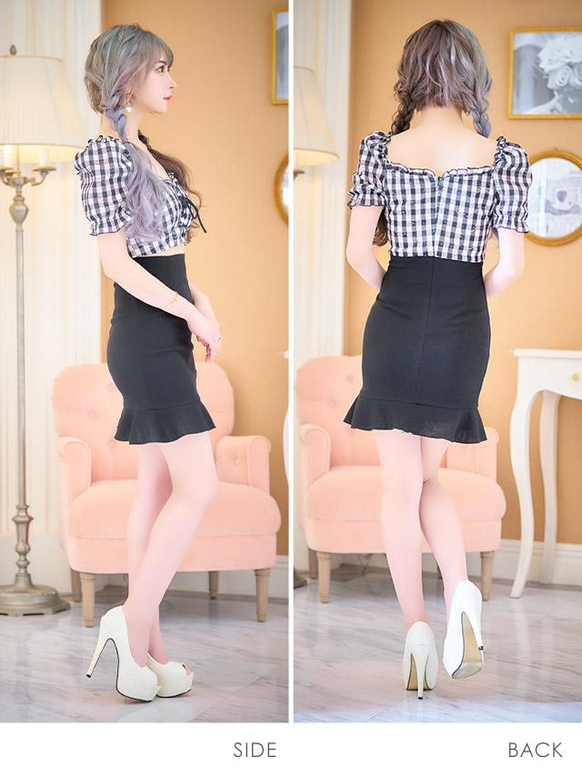 韓国ドレス ギンガムチェックギャザーレースアップウエストカット裾フリルミニドレス