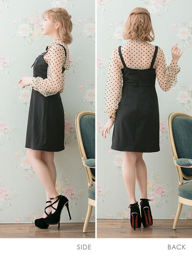リボンブローチ付きドットシースルーシャツ+ジャンパースカートセットアップドレス