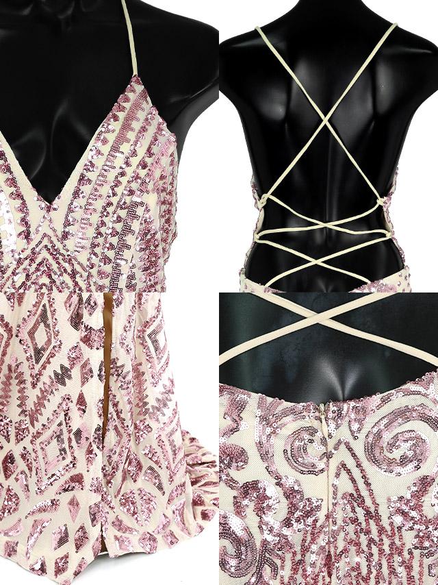 LAブランド直輸入 バックストラップデザインキラキラスパンコール刺繍レースマーメイドロングスリットドレス