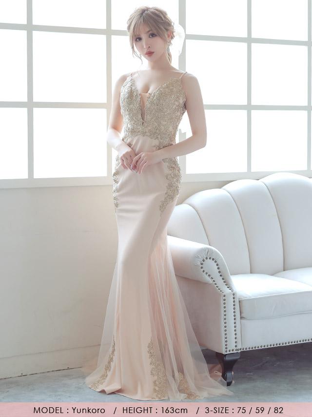 LAブランド直輸入 ゴールド刺繍デザインサイドシアーマーメイドロングドレス