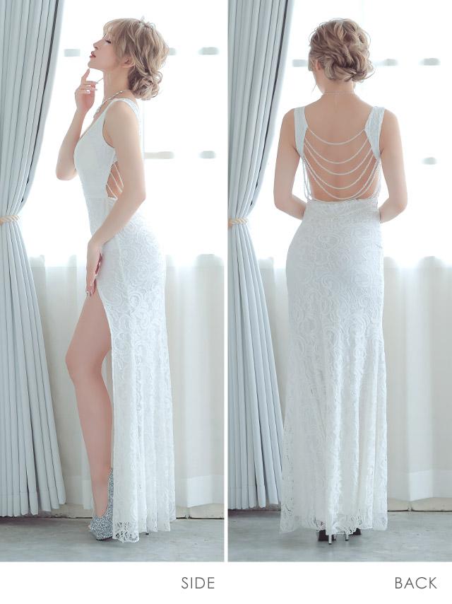 バックビジューデザインロングスリットタイトドレス