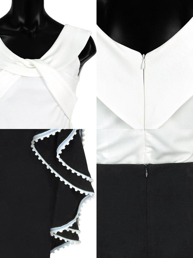 バイカラーデザインツーピースミディ丈ドレスの商品詳細