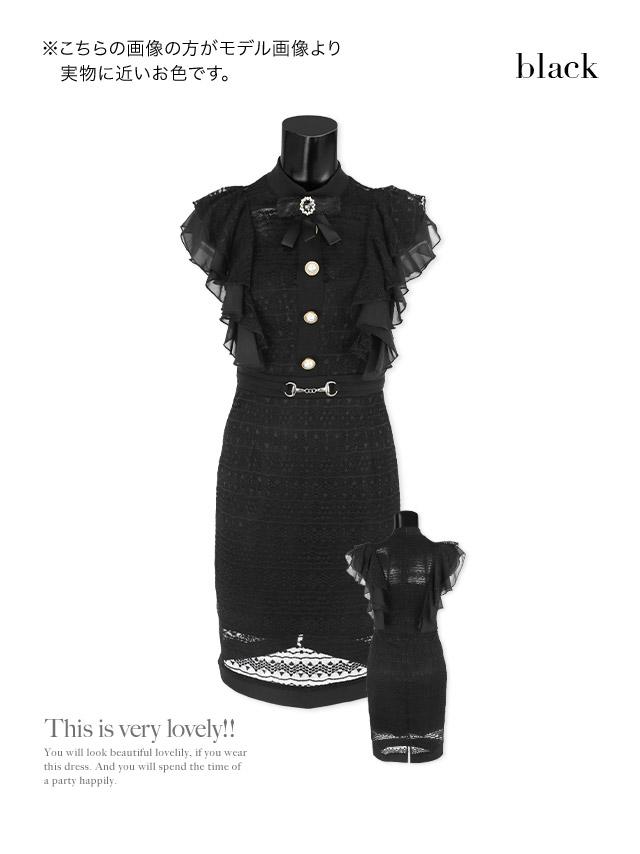 リボンブローチ付きシフォンフリルハイネックレースタイトミニドレスのカラーバリエーション