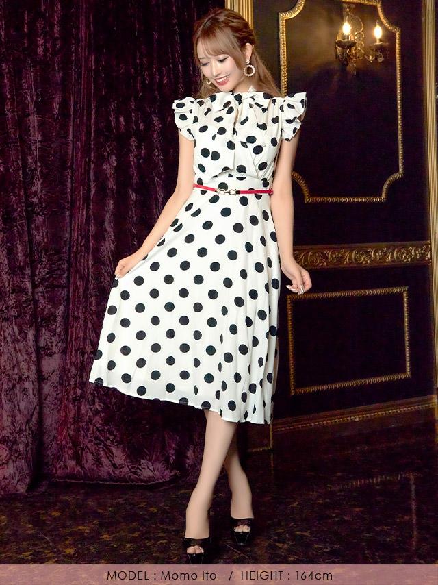 ウエストベルト付きドット柄ボウタイフリルAラインフレアミディアムドレス