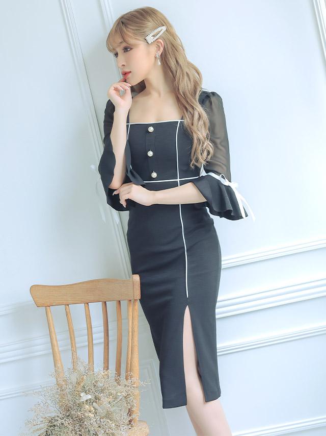 韓国ドレス ベルスリーブリボンモノトーンタイトスリットミディアムドレス